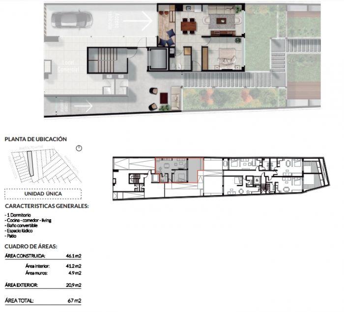 ¡Venta de apartamento de 1 dormitorio con parrillero en Pocitos!